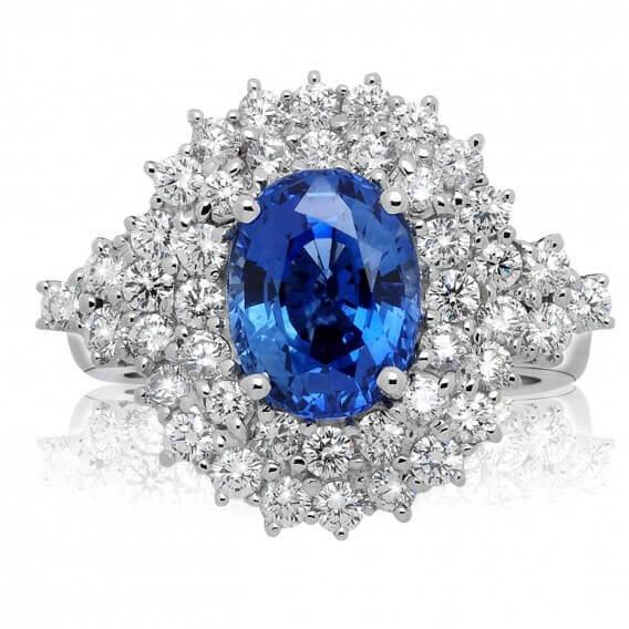 טבעת יהלומים וזהב יוקרתית בשילוב אבן חן ספיר 1.73 קראט - תום