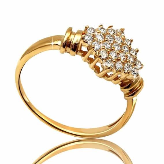 טבעת יהלומים וינטאג' בשילוב זהב צהוב