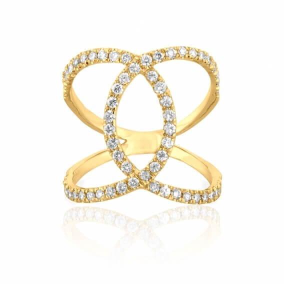 טבעת יהלומים וינטאג' מיוחדת זהב לבן ונוס 72 נקודות