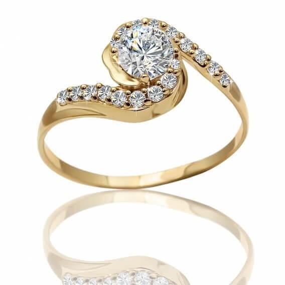 טבעת יהלומים וינטאג' מעוטרת זהב בעיצוב מיוחד 0.48 קראט - פיבי
