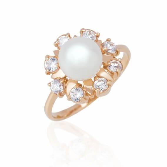 טבעת יהלומים וינטאג' מפוארת בשילוב יהלומים ופנינה גרייס 1.06 קראט