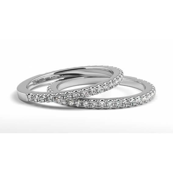 טבעת יהלומים זהב לבן אמה 0.45 קראט