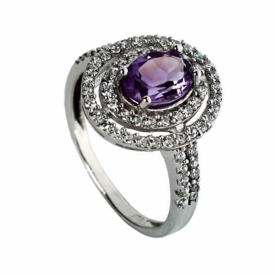 טבעת יהלומים זהב לבן בשילוב אבן חן סגולה 1.43 קראט פליני