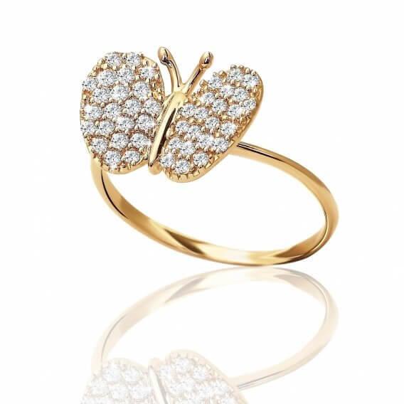 טבעת יהלומים זהב צהוב מעוצבת בצורת פרפר ליחן 48 נקודות