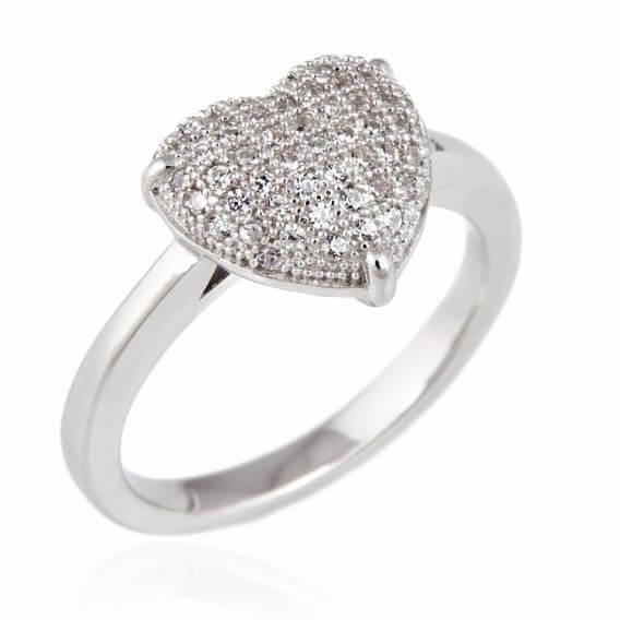 טבעת יהלומים יוקרתית בשילוב זהב לבן בצורת לב 36 נקודות