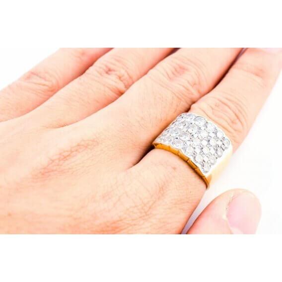 טבעת יהלומים יוקרתית בשילוב זהב צהוב קיה 65 נקודות