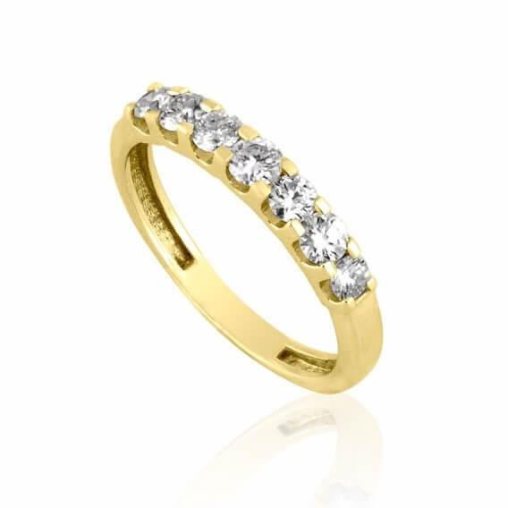 טבעת יהלומים יוקרתית בשילוב זהב צהוב