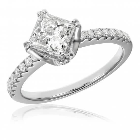 טבעת יהלומים יוקרתית זהב לבן 0.47 קראט - קייסי