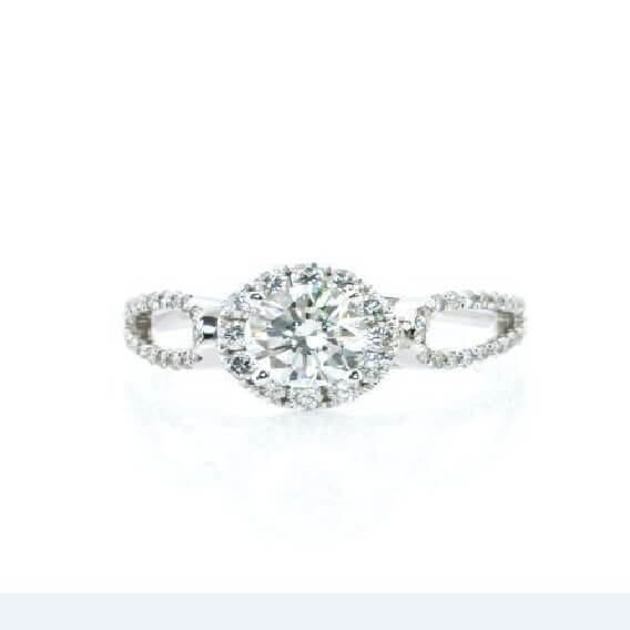 טבעת יהלומים יוקרתית זהב לבן 0.52 קראט - הרמיוני