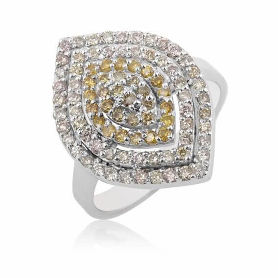 טבעת יהלומים יוקרתית זהב צהוב 1.23 קראט - נמרוס