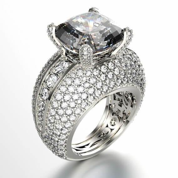 טבעת יהלומים יוקרתית זהב לבן 3.78 קראט קלאוד