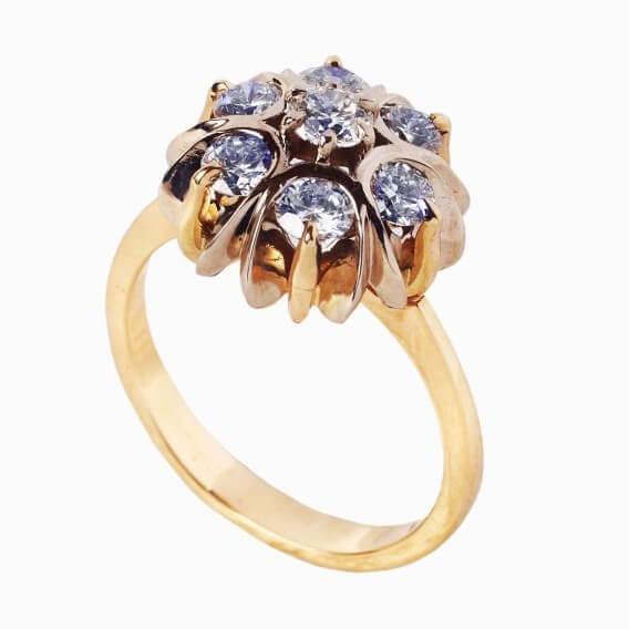 טבעת יהלומים יוקרתית זהב צהוב 0.35 קראט - אן