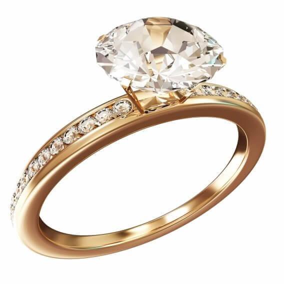 טבעת יהלומים יוקרתית זהב צהוב 1.46 קראט - משי