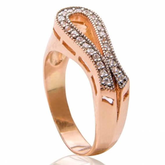 טבעת יהלומים יוקרתית מעוטרת זהב צהוב 22 יהלומים 0.66 קראט - ג'ני