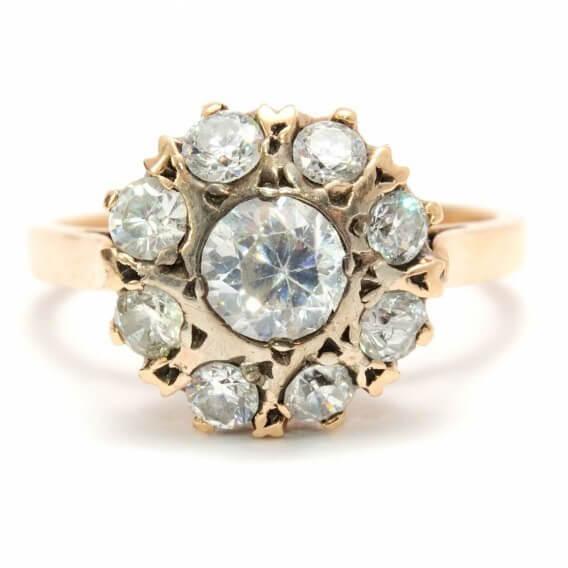 טבעת יהלומים יוקרתית מעוטרת זהב צהוב 96 נקודות שירז