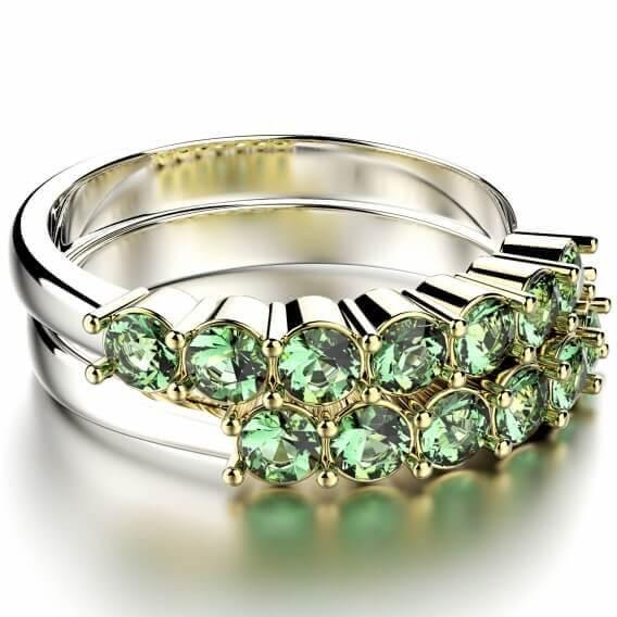טבעת יהלומים יוקרתית משובצת באבני חן 71 נקודות - נסי