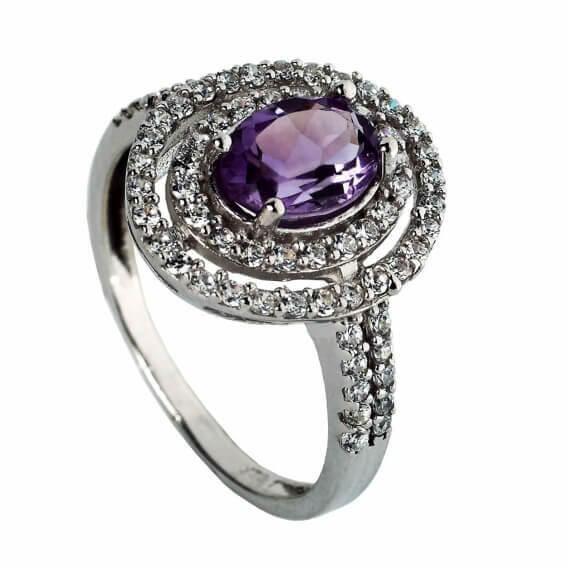 טבעת יהלומים יוקרתית עם אבן חן סגולה 1.43 קראט - פליני