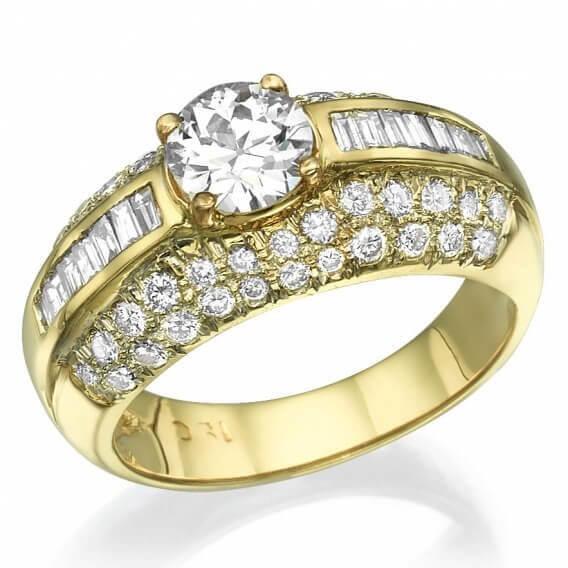 טבעת יהלומים יוקרתית 2.79 קראט זהב צהוב מאיה