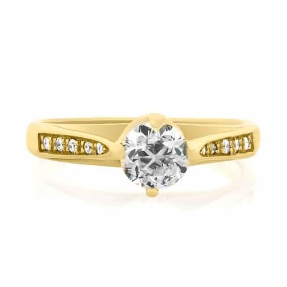 טבעת יהלומים מיוחדת בשילוב זהב צהוב 82 נקודות