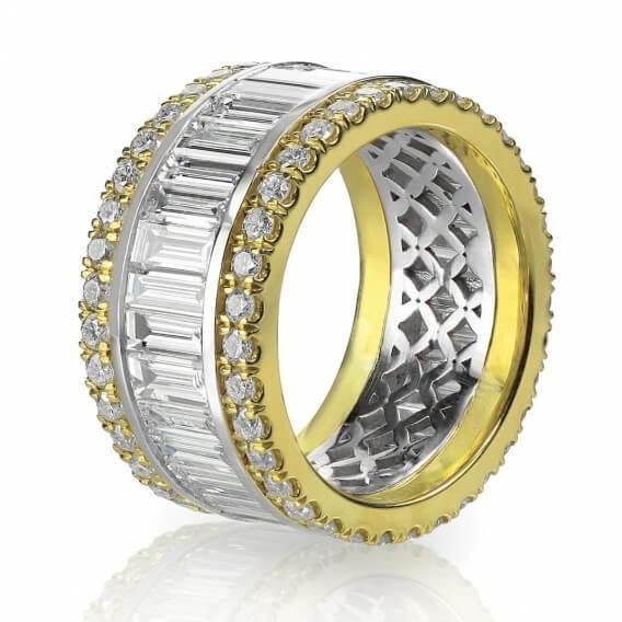 טבעת יהלומים מעוטרת זהב לבן וצהוב אביגייל 2.41 קראט