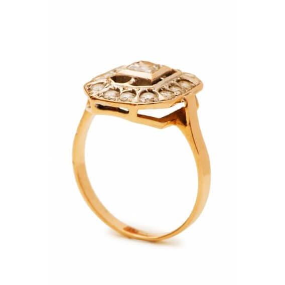 טבעת יהלומים מעוטרת זהב צהוב בעיצוב מיוחד 0.41 קראט - ג'יזל