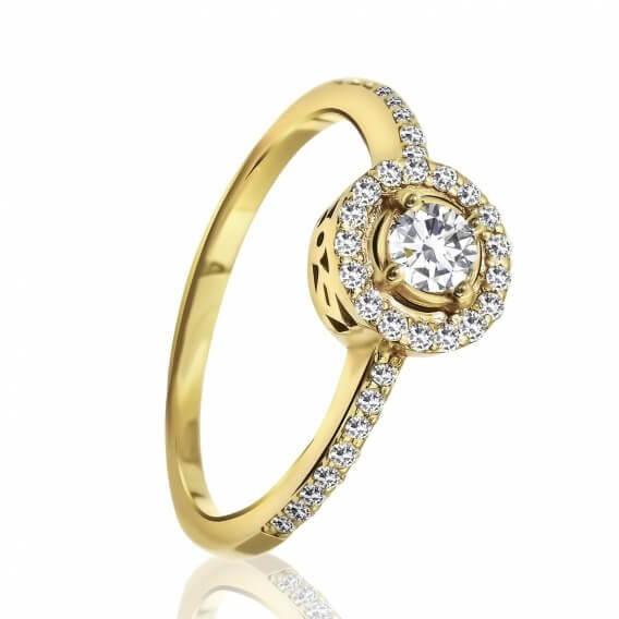 טבעת יהלומים מעוטרת זהב צהוב בעיצוב מיוחד 0.54 קראט - מייגן