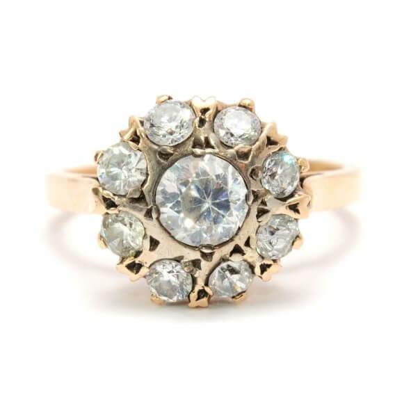 טבעת יהלומים מעוטרת זהב שירז 96 נקודות