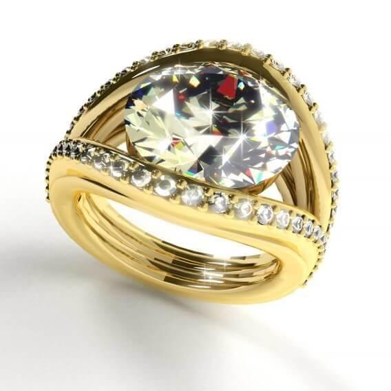 טבעת יהלומים מעוצבת בצורת עין בשילוב זהב צהוב 2.54 קראט לורה