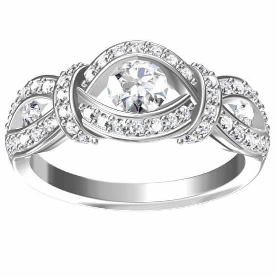 טבעת יהלומים מעוצבת בצורת עי זהב לבןן 1.39 קראט