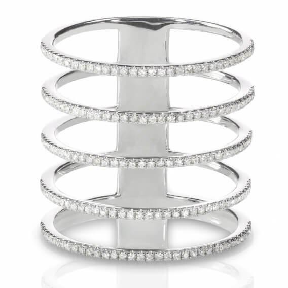 טבעת יהלומים מעוצבת בשילוב זהב לבן 1.02 קראט