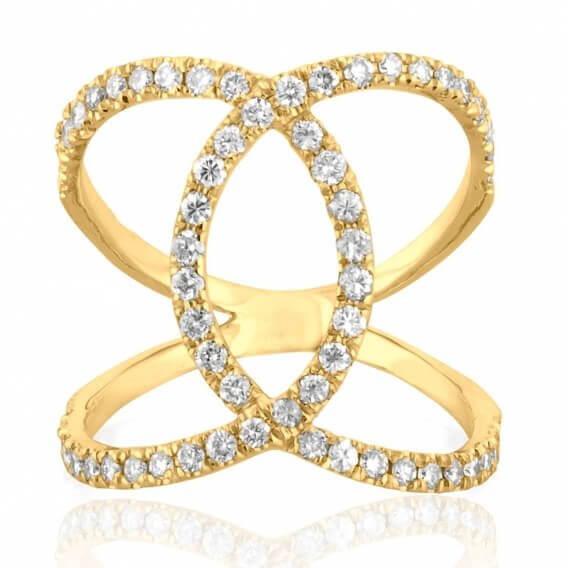 טבעת יהלומים מעוצבת בשילוב זהב צהוב 60 נקודות וונוס