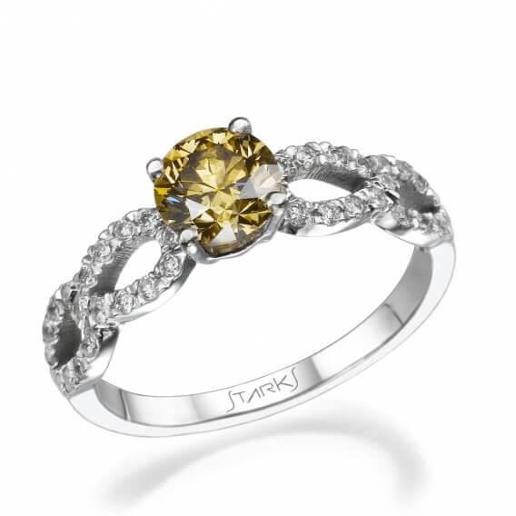 טבעת יהלומים מעוצבת זהב צהוב 1.20 קראט - אנאבל