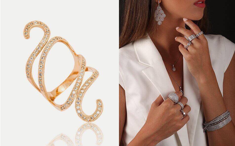 טבעת יהלומים מעוצבת מזהב לבן