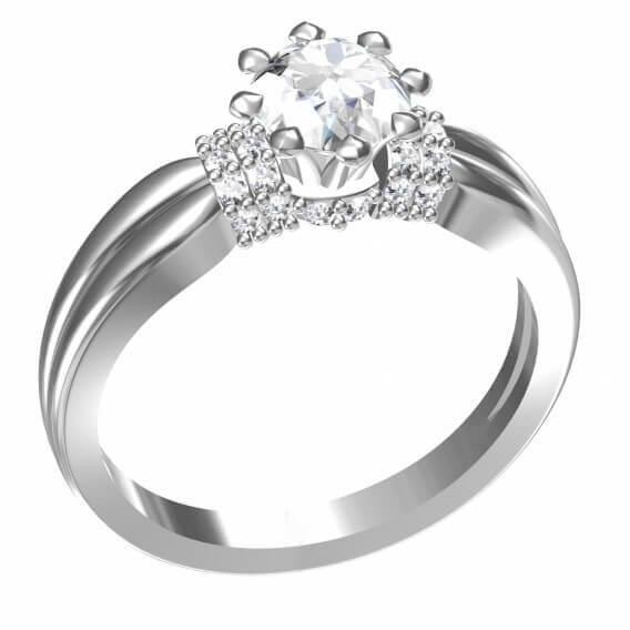 טבעת יהלומים מעוצבת משובצת זהב לבן 75 נקודות