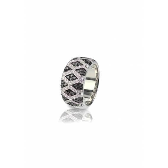 טבעת יהלומים מעוצבת שחור לבן 1.54 קראט וינה