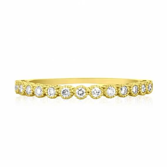 טבעת יהלומים עדינה זהב צהוב קלימרה