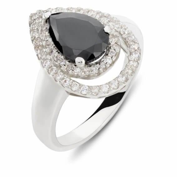 טבעת יהלומים עם אבן חן שחורה 1.67 קראט - אנג'לה
