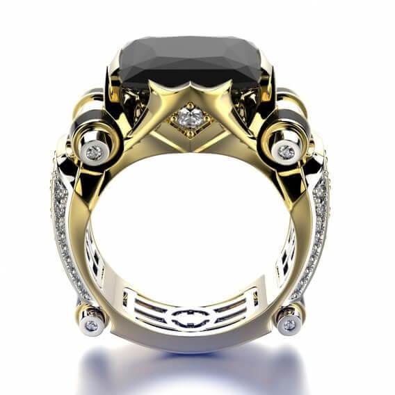 טבעת לגבר יהלומים עם אבן חן מרכזי 1.64 קראט - סאם