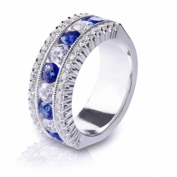 טבעת יהלומים עם אבני חן לגבר 0.88 קראט - יוליוס