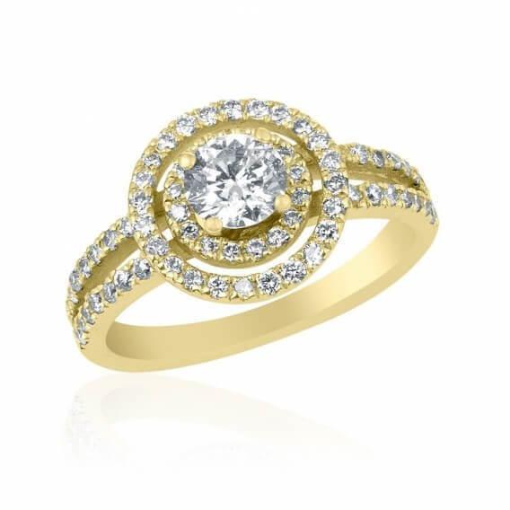 טבעת יהלומים קלאסית בשיבוץ יהלומים וזהב אלה