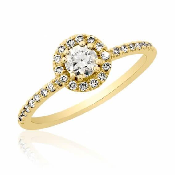 טבעת יהלומים עדינה קאיסה 43 נקודות זהב צהוב