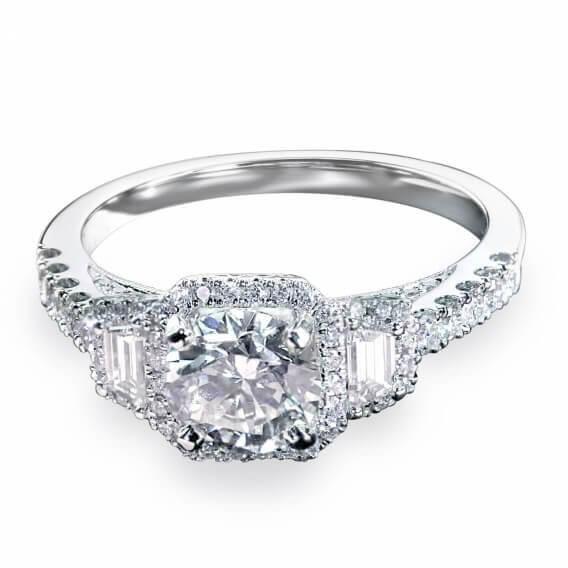 טבעת אירוסין יוקרתית בשיבוץ יהלומים וזהב לבן 1.62 קראט - דן