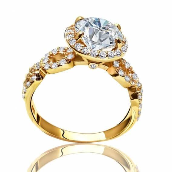 טבעת אירוסין יוקרתית משובצת יהלומים וזהב 1.15 קראט