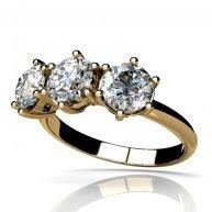 טבעת אירוסין יוקרתית 3 יהלומים בשילוב זהב צהוב