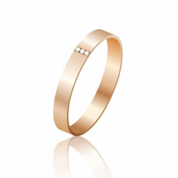טבעת לגבר זהב צהוב עם 3 יהלומים - גרי