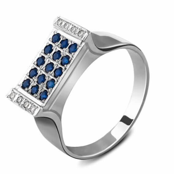 טבעת לגבר יהלומים ואבני חן ספיר מונשיין 49 נקודות