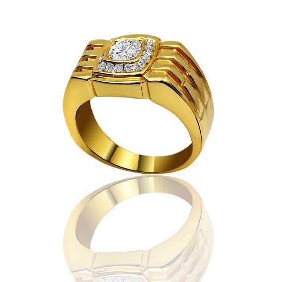 טבעת לגבר מעוצבת ומשובצת ביהלומים 0.65 קראט - גאווין