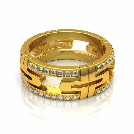 טבעת לגבר מעוצבת משובצת ביהלומים 0.96 קראט - תומאס