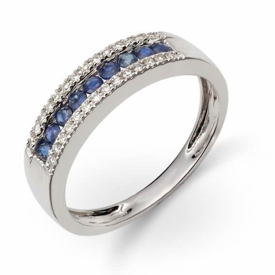 טבעת לגבר מיוחדת ומשולבת יהלומים ואבני ספיר 0.54 קראט - מארק