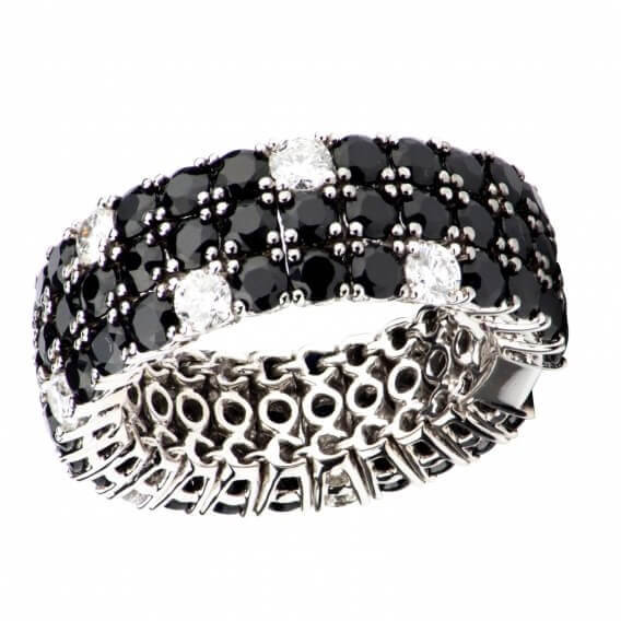 טבעת לגבר מיוחדת משולבת ביהלומים מרקיזה שחורים ולבנים 1.86 קראט - אלכס